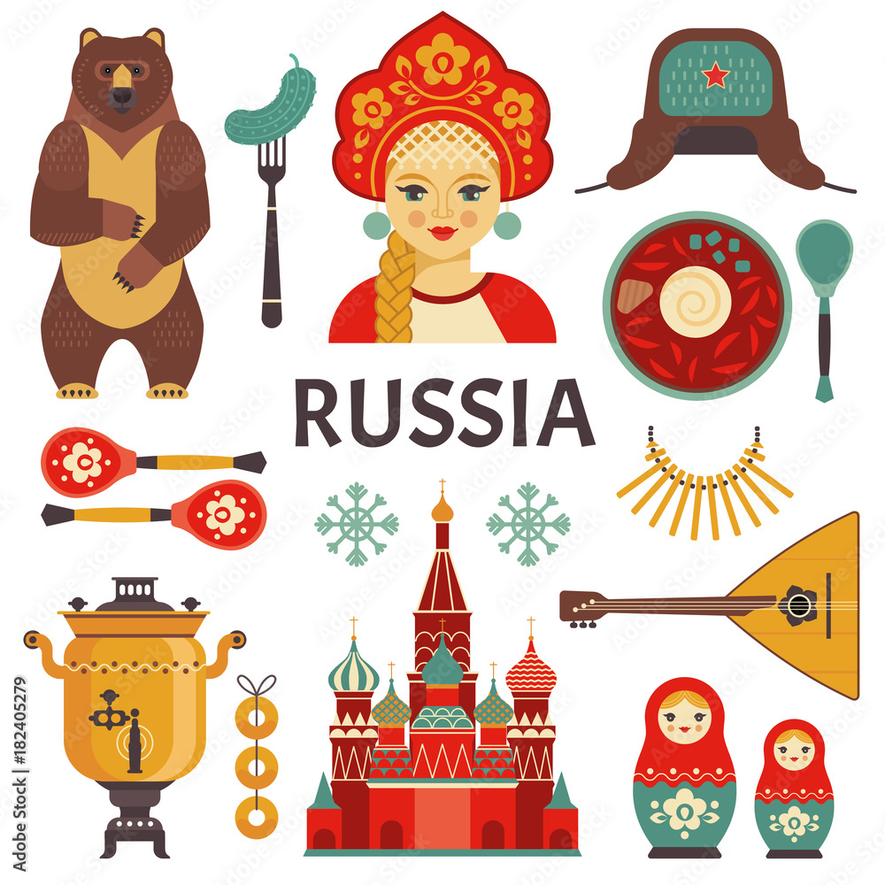 Fototapety, obrazy: Russia icons set. Vector collection of Russian culture and nature images, including St. Basil's Cathedral, russian doll, balalaika, borscht, portrait of Russian beauty in kokoshnik. Isolated on white.