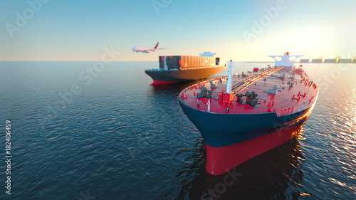 Fotografia  Tanker Cargo and aircraft at sea. 3d rendering and illustration.