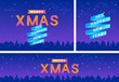 Merry xmas banners set for christmas celebration and new year greetings concept vector illustration for celebrating the holiday and promotion. Gradient xmas posters on violet urban city background