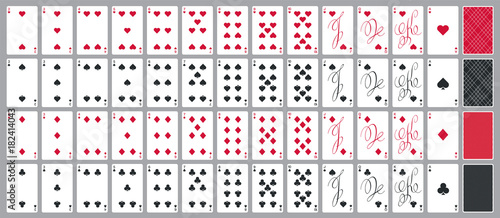 Valokuva Simple poker cards full set in modern calligraphic design, four suits