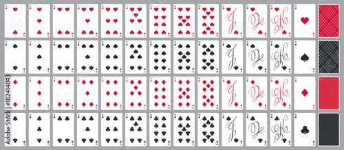 Fotografie, Obraz  Simple poker cards full set in modern calligraphic design, four suits