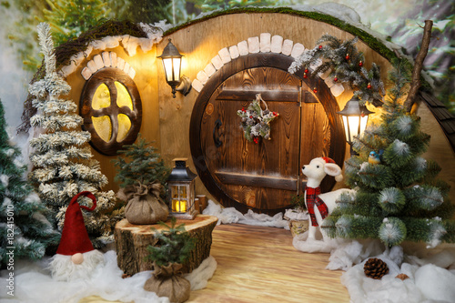 New Year's house of a gnome / hobbit. Studio photography Canvas Print
