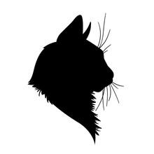 Cat Head Silhouette. Vector Il...