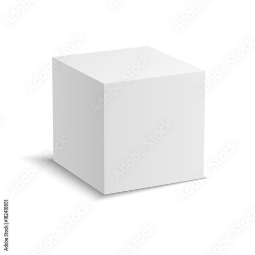 Stampa su Tela White vector cube with perspective