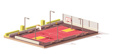 Vector Low Poly Basketball Court