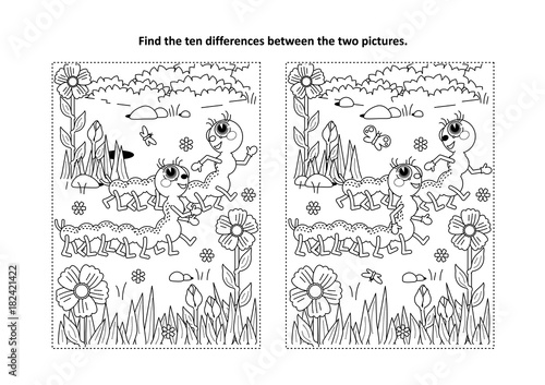 Spring Or Summer Themed Find The Ten Differences Picture Puzzle And Coloring Page With Two Cute