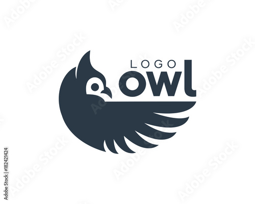 Poster Uilen cartoon Amazing Owl Bird Modern Simple Logo Eye Catching Dark Blue Animal