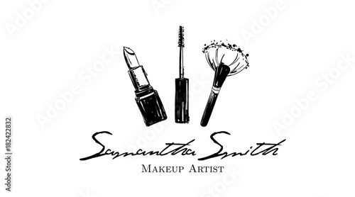 Makeup Artist Banner Business Card And Logo Concept Beauty Set For Make Up