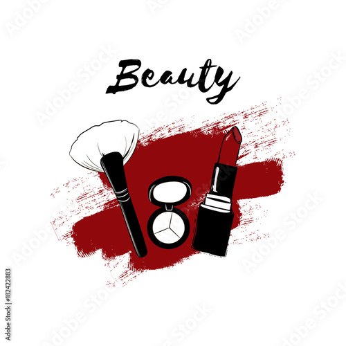 28916d70c7d Fashion beauty cosmetics logo banner with makeup artist beauty Set for  make-up: red lipstick, eyeshadow, makeup brush. Vector hand drawn  illustration with ...
