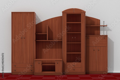 Fényképezés  Living Room Wall Unit in front of White Wall. 3d Rendering