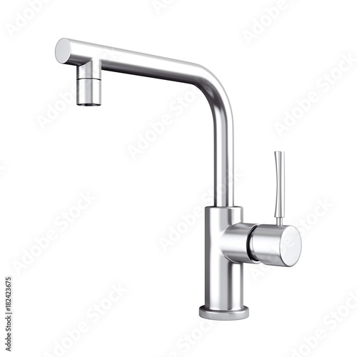 Modern Stainless Steel Kitchen Water Tap, Faucet. 3d Rendering Tapéta, Fotótapéta