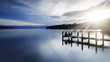 canvas print picture - Bootsanleger am Starnberger See, Bayern, Langzeitbelichtung in schwarzweiß