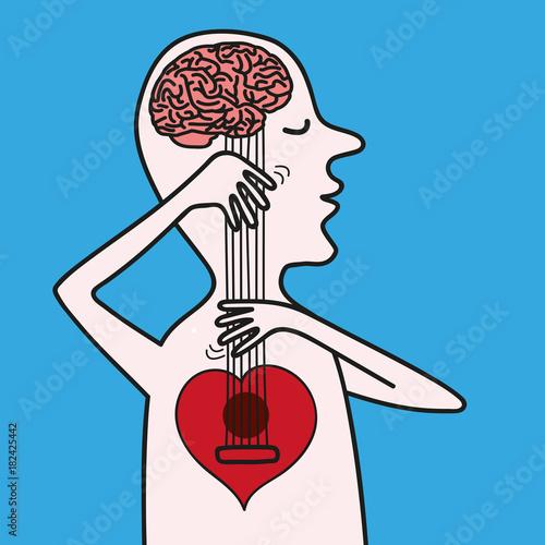 Fotomural cerveau - cœur - amour - raison - balance - concept - décision - esprit - aveugl