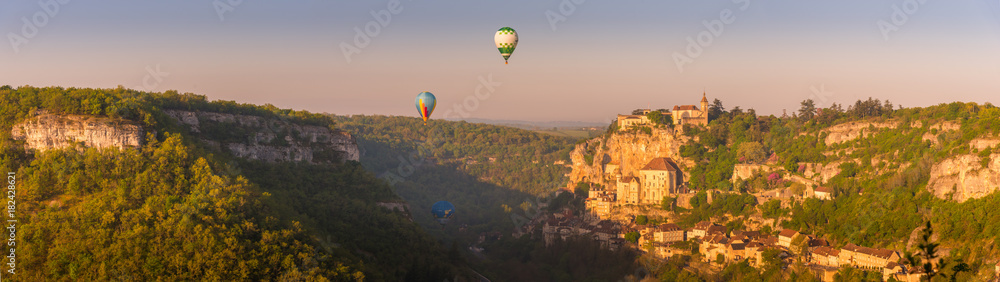 Rocamadour village a picturesque unesco world heritage site in france at sunrise