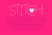Stitched Font, Alphabet Vector...