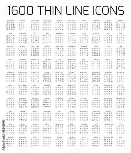Exclusive 1600 thin line icons set Fototapet