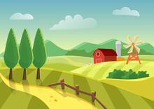 Cartoon Vector Farm Landscape ...