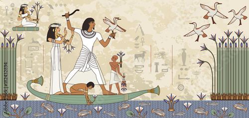 Fotografie, Obraz  Murals with ancient egypt scene.Ancient egypt banner.