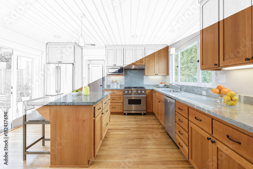 Photo Split Screen Of Drawing and Photo of New Kitchen - Illustration
