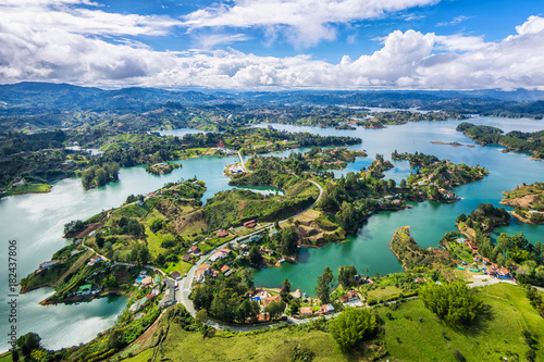 Photo Stands South America Country Guatape panoramic view from the Rock (la Piedra del Penol), near Medellin, Colombia.