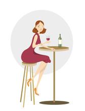 Woman Drinks Wine.