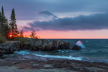 Lake Superior Sunrise With A Rocky Coastline