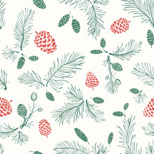 Christmas Hand Drawn Seamless Pattern With Pine Branches And Cones