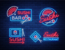 Set Of Logos, Signs In Neon St...