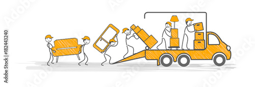 Fototapeta déménagement transport déménageurs