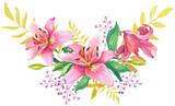 Pink lilies.Floral Illustration