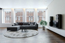 Spacious Living Room With Sofa And Hi-fi System