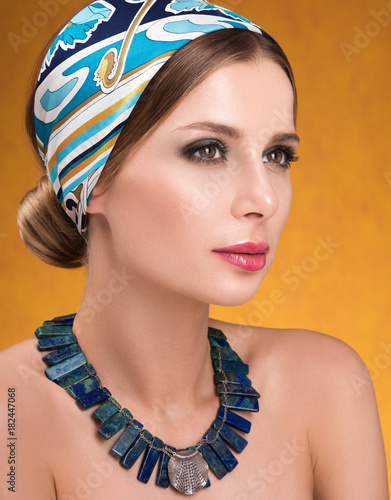 Hairstyle with headscarf Canvas Print