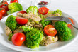 salad with chicken fillet, tomatoes cherry and broccoli