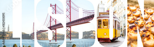 Photo  Lisbon letters filled with pictures of famous places, traditional portuguese foo