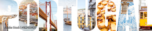 Photo  Portugal letters filled with pictures of famous places and landmarks in Portugal