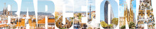 Barcelona Letters Filled With Pictures Of Famous Places And Cityscapes In Barcelona City, Spain