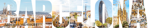 Fotoposter Barcelona Barcelona letters filled with pictures of famous places and cityscapes in Barcelona city, Spain