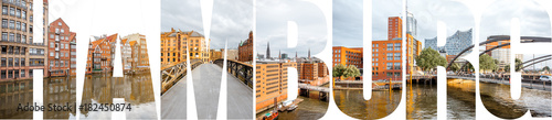 Photo  HAMBURG letters filled with pictures of famous places and cityscapes in Hamburg