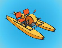 Catamaran Pedal. Vector Drawing
