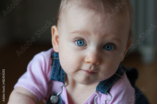 Baby Ellie in blue overalls #16 Wallpaper Mural