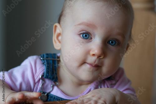 Baby Ellie in blue overalls #10 Wallpaper Mural
