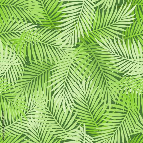 Ingelijste posters Tropische Bladeren Exotic tropical light green banana palm leaves on dark green background. Seamless natural floral pattern