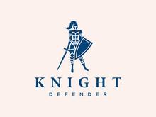 Modern Vector Professional Logo Emblem Woman Knight On Pink Background