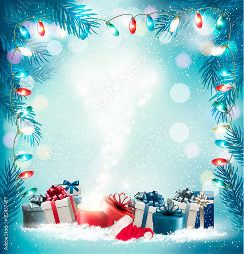 Christmas Holiday Images.Christmas Holiday Background With Gift Boxes And Magic Box