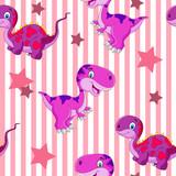 Fototapeta Dinusie - vector seamless cute graphical cartoon dinosaur pattern. childhood design.