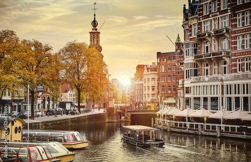 Poster Amsterdam Channel in Amsterdam Netherlands houses river Amstel landmark
