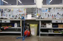 Workshop With Large Workbench And A Large Number Of Tools For Ma