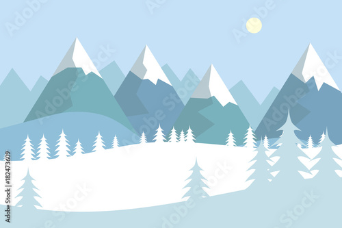 Foto op Canvas Lichtblauw Flat vector landscape with silhouettes of trees, hills and mountains with falling snow.