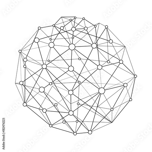 Vector Illustration Wireframe Connecting Sphere With Dots And