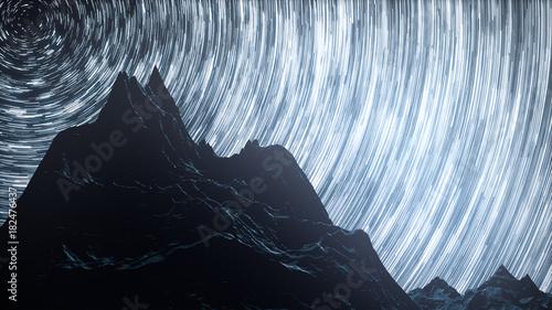 Fotografia Star Milky Way galaxy moving across the night sky 3d illustration